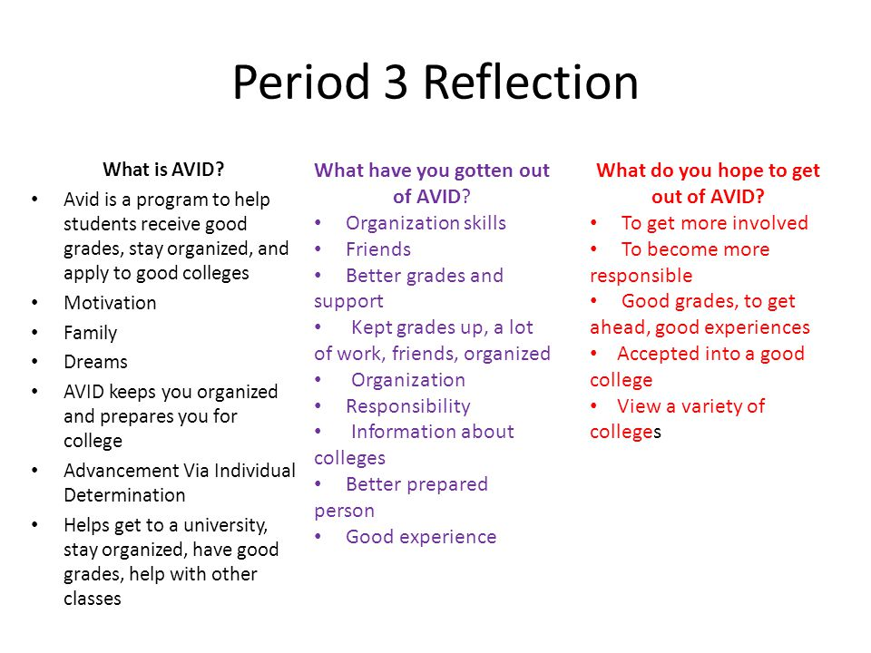 Reflection Period 3 All the opportunities Improve grades Refocused me Meet more friends Organized responsible Learn more about college Manage time Be more social and participate in school Stayed in because it helped me Family members/ friends recommend it Prepare for college Stay on track with grades Accomplish my dreams Field trips How to apply to college It exceeded my expectations Teacher recommended me Gain more study tools/skills Looks good on college application Figure out the person I want to be Seeing different college and How to study Gain an understanding of what I want to do/be Get involved in Extracurricular Activities A change Doing/ helping in AP Classes Not one of you said you joined AVID for the BINDER CHECKS