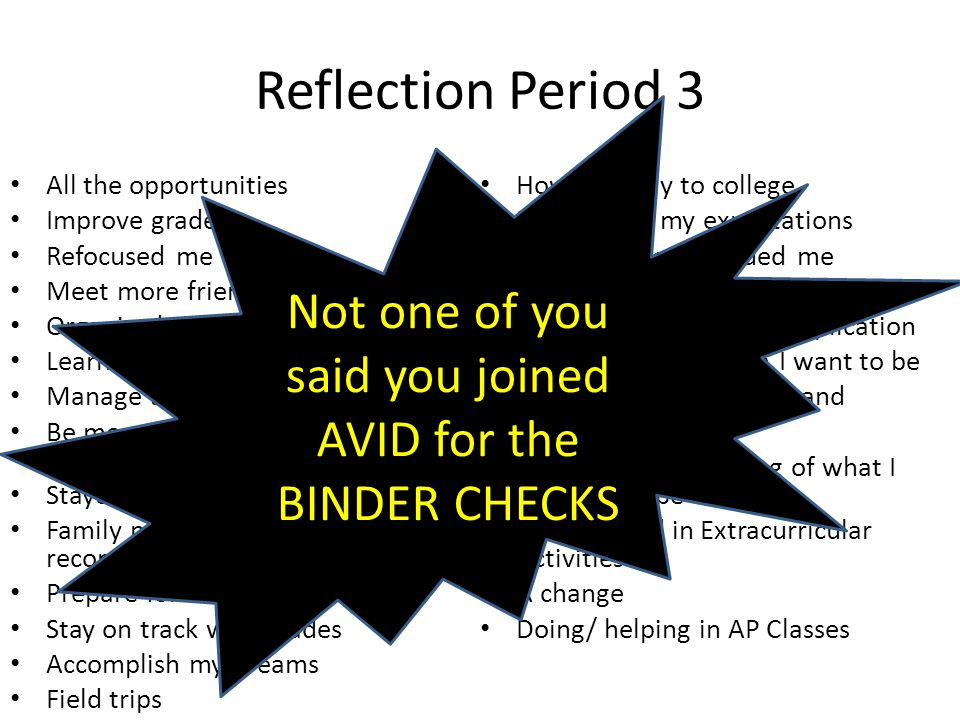 Period 5 Reflection What is AVID.