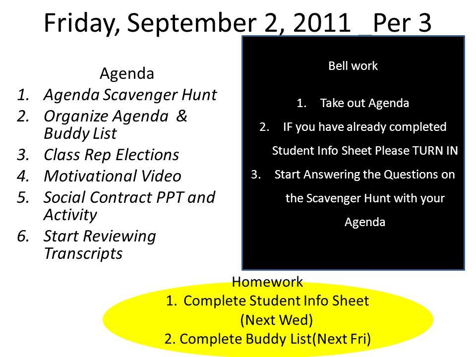 Friday, September 9, 2011 Per.