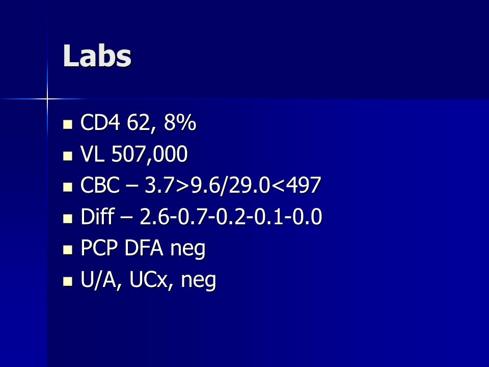 Labs CD4 62, 8% CD4 62, 8% VL 507,000 VL 507,000 CBC – 3.7>9.6/29.0 9.6/29.0<497 Diff – 2.6-0.7-0.2-0.1-0.0 Diff – 2.6-0.7-0.2-0.1-0.0 PCP DFA neg PCP DFA neg U/A, UCx, neg U/A, UCx, neg