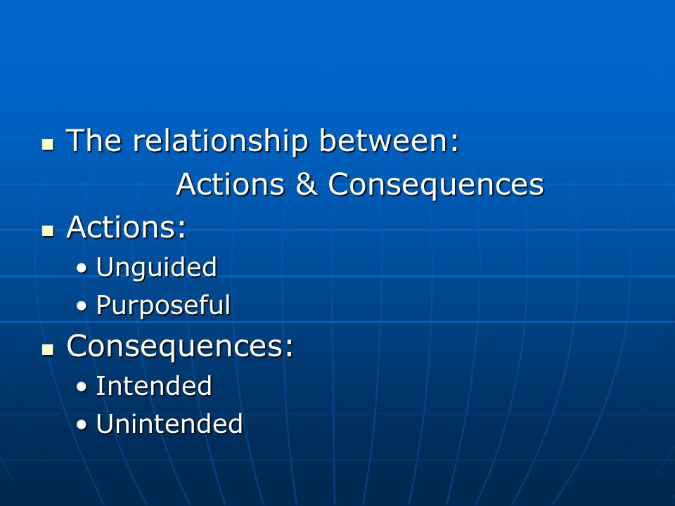 The relationship between: The relationship between: Actions & Consequences Actions: Actions: UnguidedUnguided PurposefulPurposeful Consequences: Consequences: IntendedIntended UnintendedUnintended