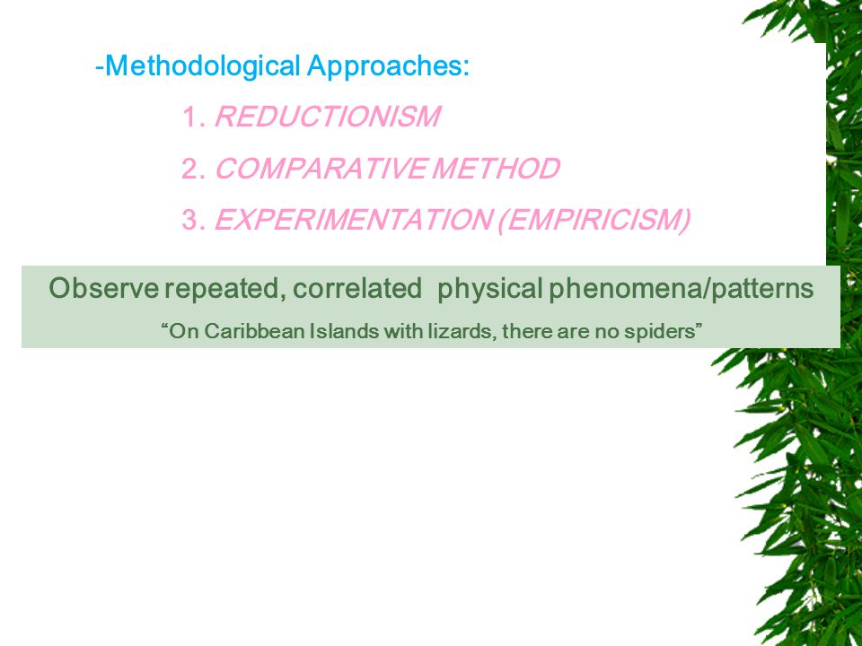 -Methodological Approaches: 1. REDUCTIONISM 2. COMPARATIVE METHOD 3.