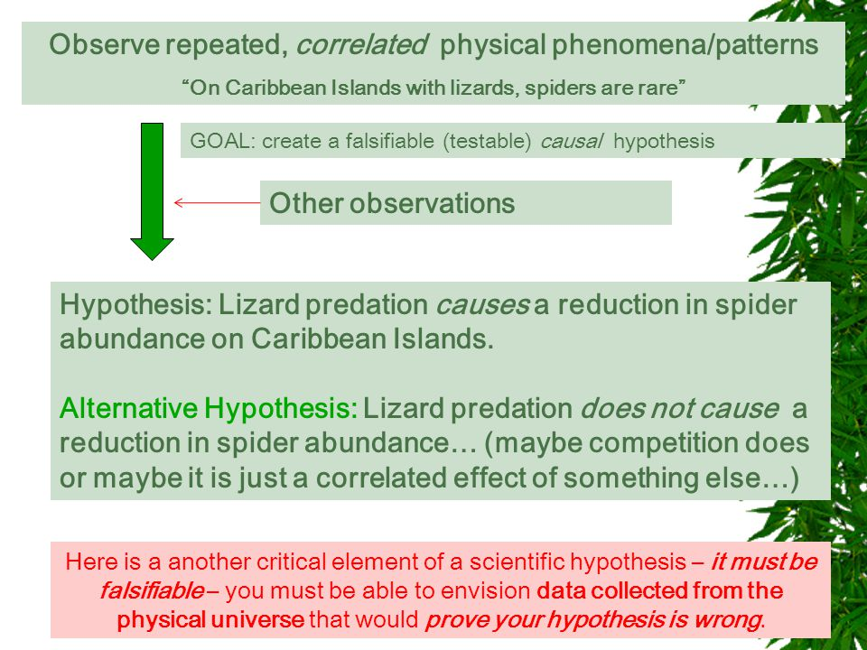 """Observe repeated, correlated physical phenomena/patterns """"On Caribbean Islands with lizards, spiders are rare"""" GOAL: is this relationship causal?GOAL:"""