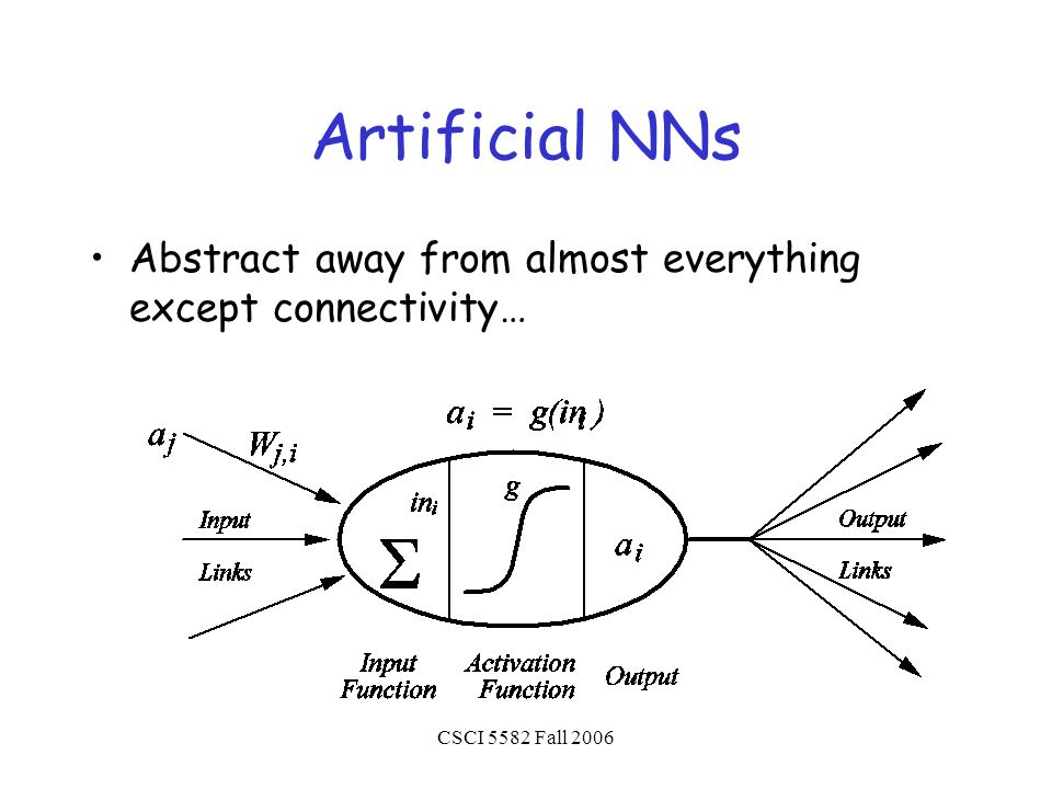 CSCI 5582 Fall 2006 Artificial NNs Abstract away from almost everything except connectivity…