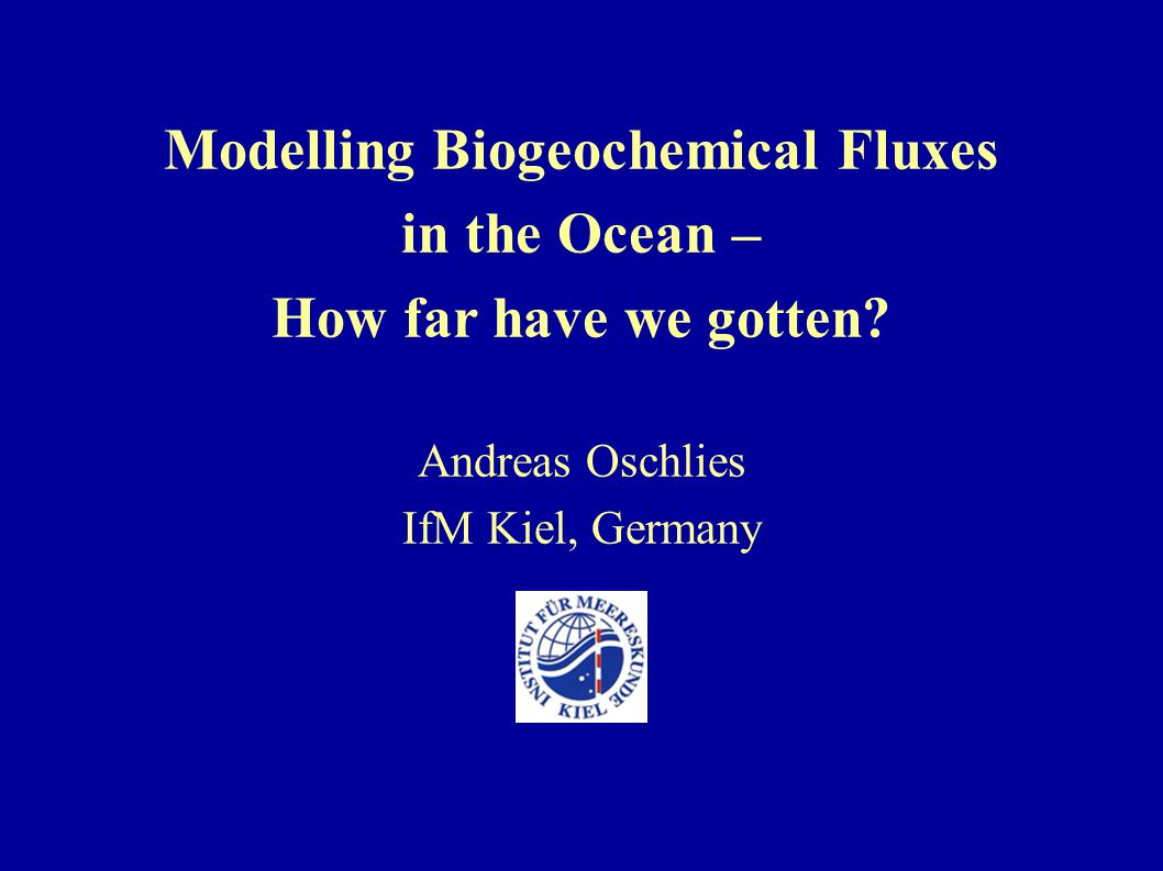Modelling Biogeochemical Fluxes in the Ocean – How far have we gotten.
