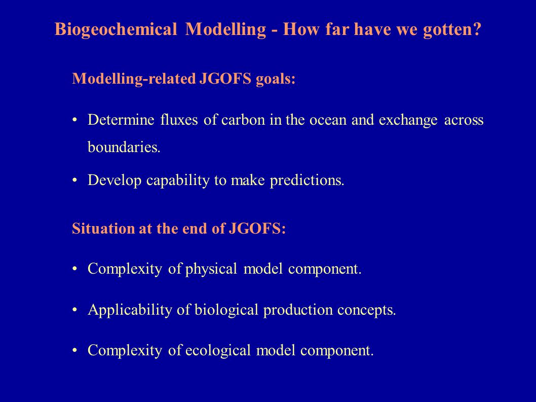 Part I: Physical Complexity: Pre-JGOFS Box Models New Production: Restoring of surface nutrients.