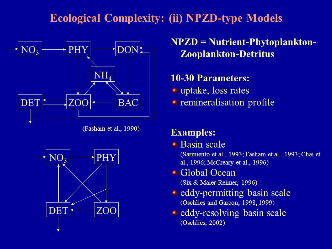 Ecological Complexity: (ii) NPZD-type Models NPZD = Nutrient-Phytoplankton- Zooplankton-Detritus 10-30 Parameters: uptake, loss rates remineralisation
