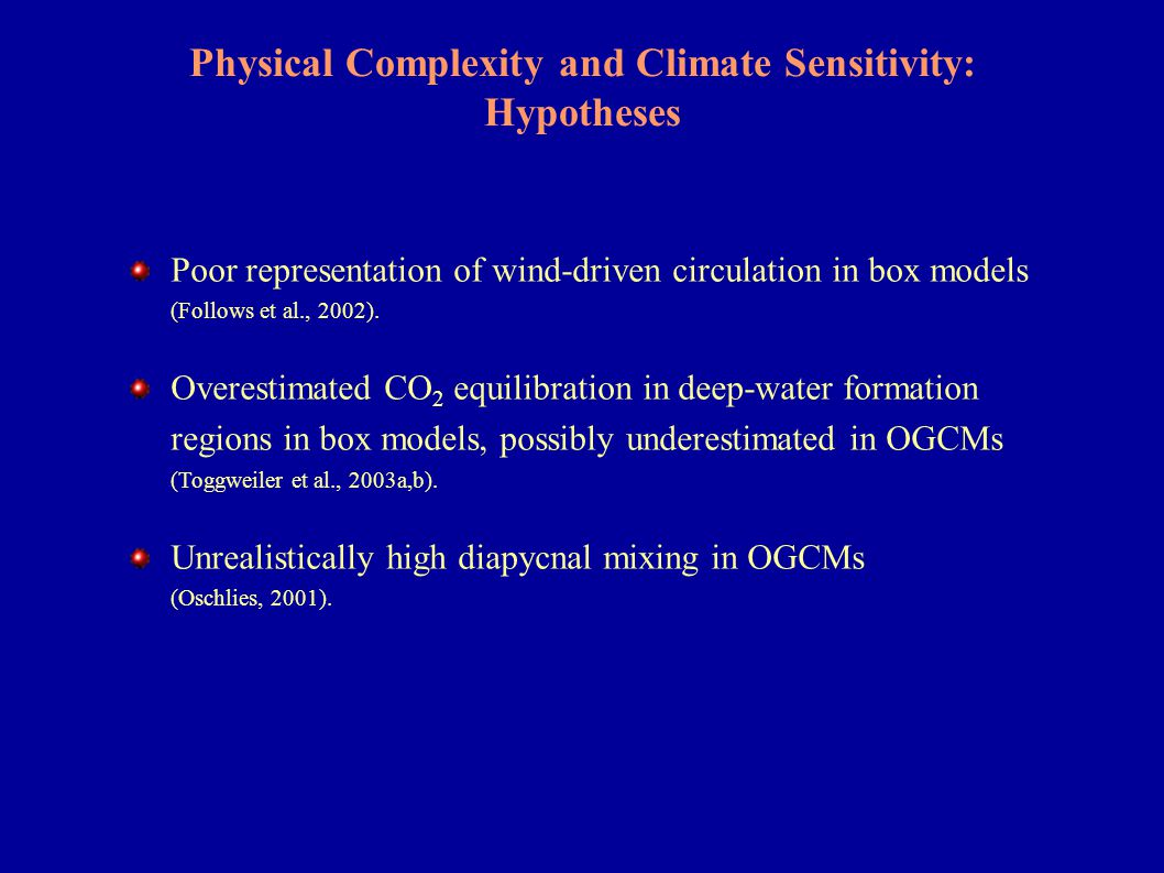Physical Complexity: Sensitivity Experiments N-based ecosystem model Spring bloom, eddy-resolving (1/9 o ) model (Oschlies & Garcon, 1999) (Oschlies, 2002)