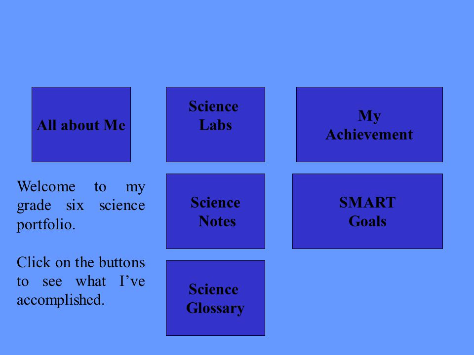 All about Me Science Notes Science Labs My Achievement Science Glossary SMART Goals Welcome to my grade six science portfolio. Click on the buttons to