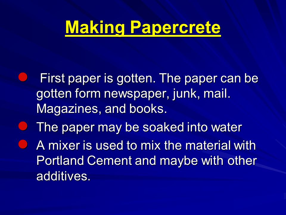 Structures from Papercrete