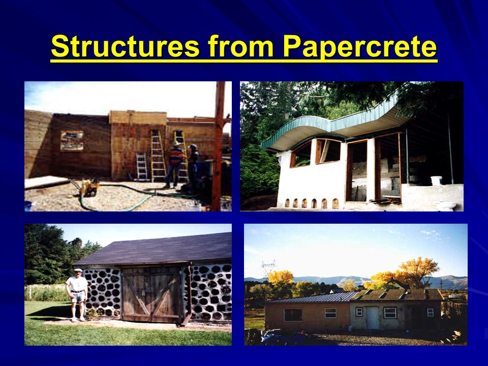 Properties Dried Concrete has very low strength Papercrete provides good insulation R-value is about 2.0 and 3.0 per inch Lightweight Its mold resistant material and can be used as a sound-proofing material.