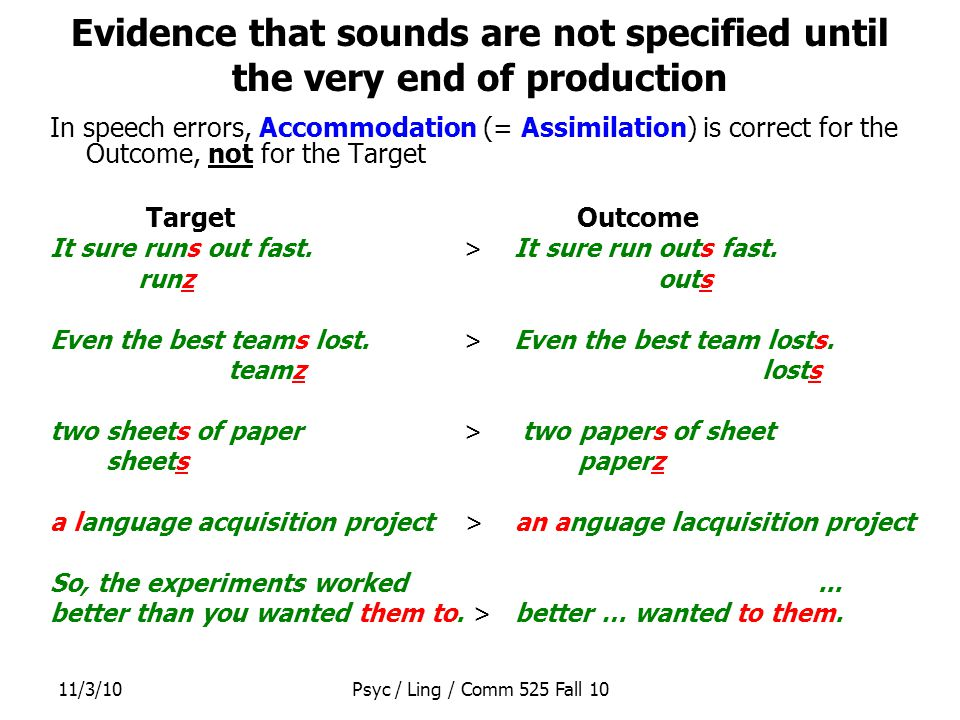 11/3/10Psyc / Ling / Comm 525 Fall 10 Evidence that sounds are not specified until the very end of production In speech errors, Accommodation (= Assimilation) is correct for the Outcome, not for the Target Target Outcome It sure runs out fast.