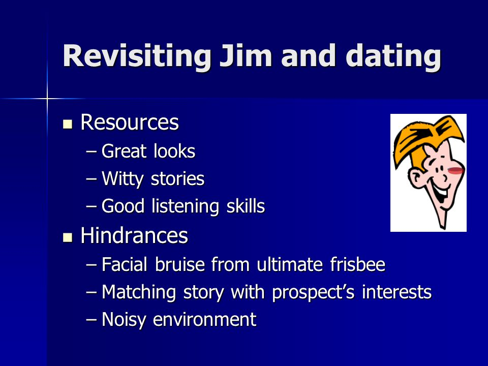 Revisiting Jim and dating Resources Resources –Great looks –Witty stories –Good listening skills Hindrances Hindrances –Facial bruise from ultimate frisbee –Matching story with prospect's interests –Noisy environment