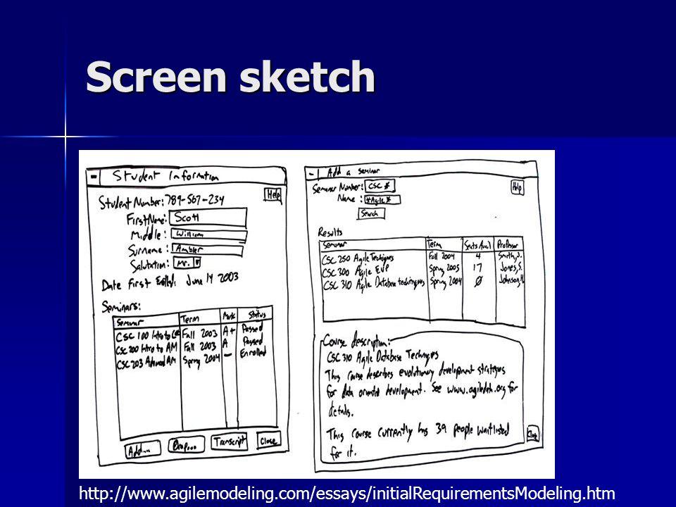 Screen sketch http://www.agilemodeling.com/essays/initialRequirementsModeling.htm