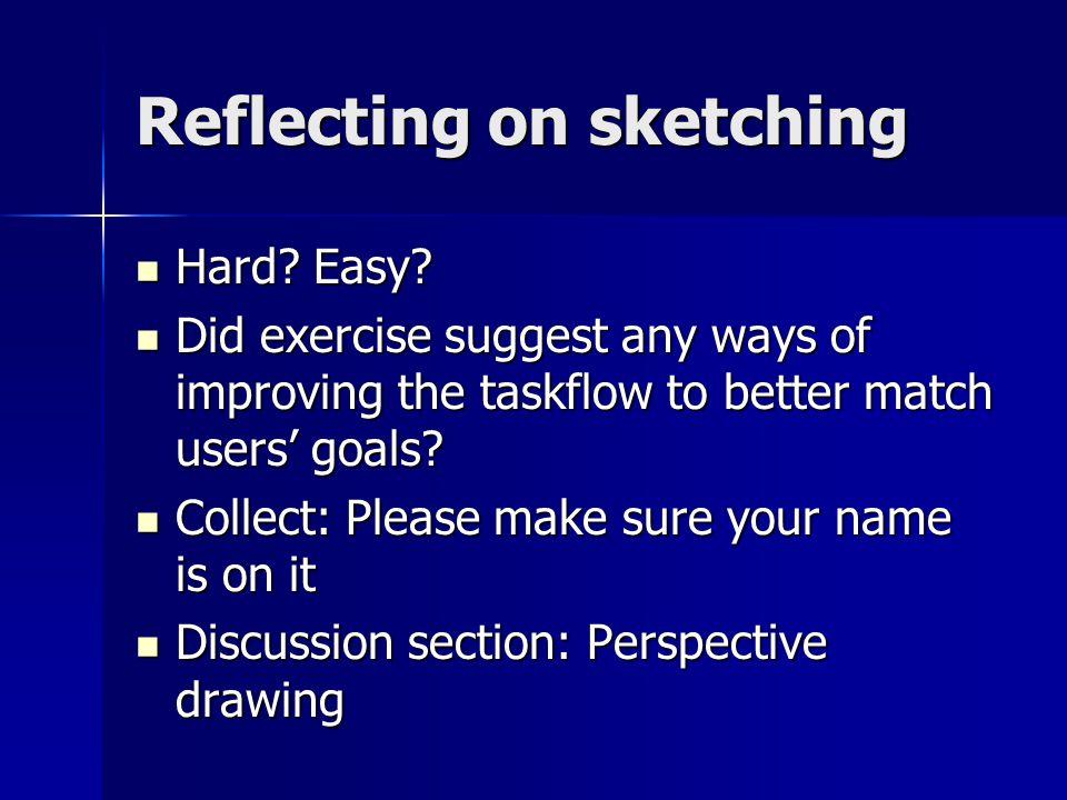 Reflecting on sketching Hard. Easy. Hard. Easy.