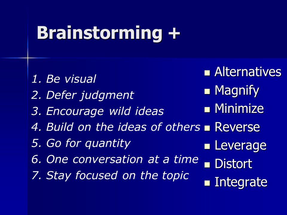 Brainstorming + Alternatives Alternatives Magnify Magnify Minimize Minimize Reverse Reverse Leverage Leverage Distort Distort Integrate Integrate 1.