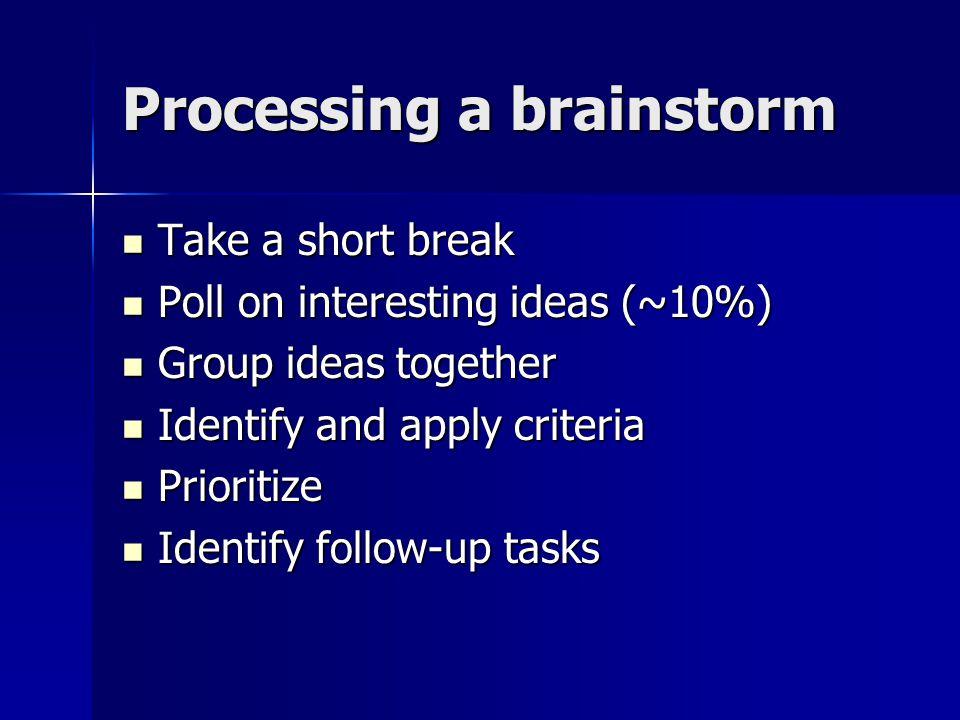 Processing a brainstorm Take a short break Take a short break Poll on interesting ideas (~10%) Poll on interesting ideas (~10%) Group ideas together Group ideas together Identify and apply criteria Identify and apply criteria Prioritize Prioritize Identify follow-up tasks Identify follow-up tasks