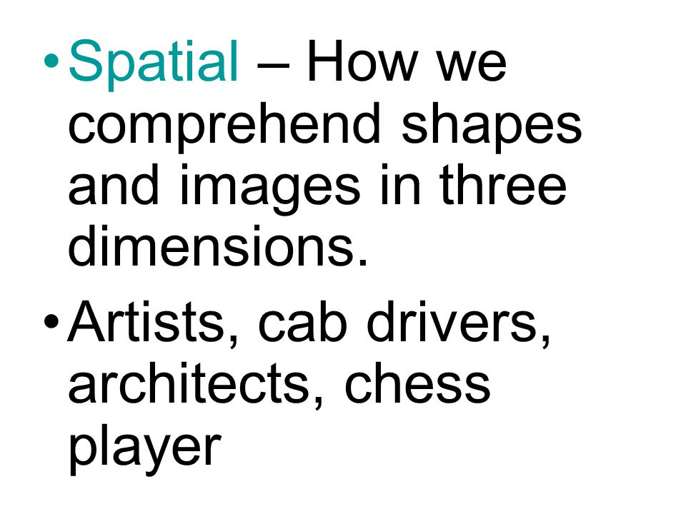 Spatial – How we comprehend shapes and images in three dimensions.