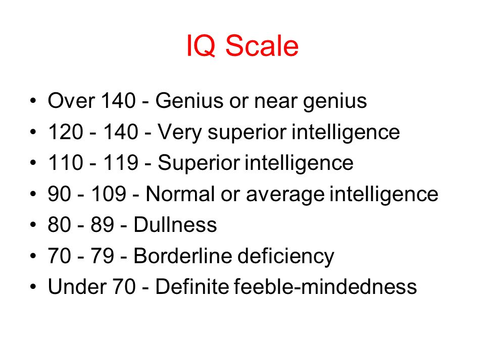 IQ Scale Over 140 - Genius or near genius 120 - 140 - Very superior intelligence 110 - 119 - Superior intelligence 90 - 109 - Normal or average intelligence 80 - 89 - Dullness 70 - 79 - Borderline deficiency Under 70 - Definite feeble-mindedness