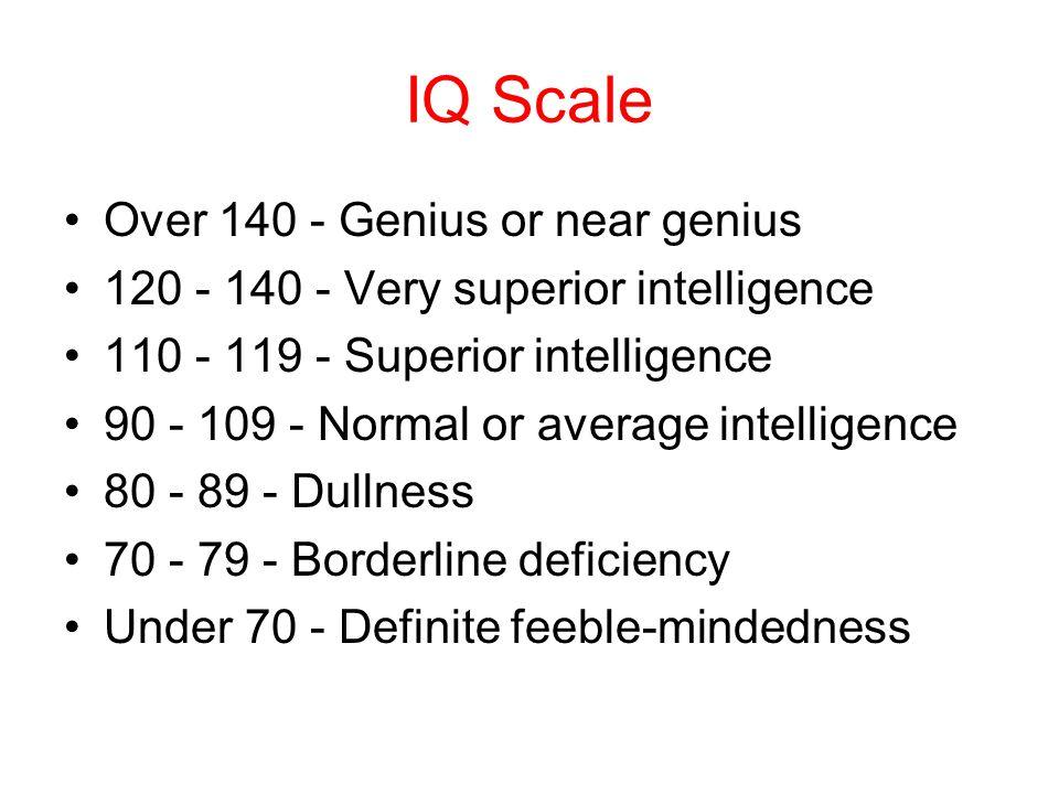 IQ Scale Over 140 - Genius or near genius 120 - 140 - Very superior intelligence 110 - 119 - Superior intelligence 90 - 109 - Normal or average intelligence 80 - 89 - Dullness 70 - 79 - Borderline deficiency Under 70 - Definite feeble-mindedness