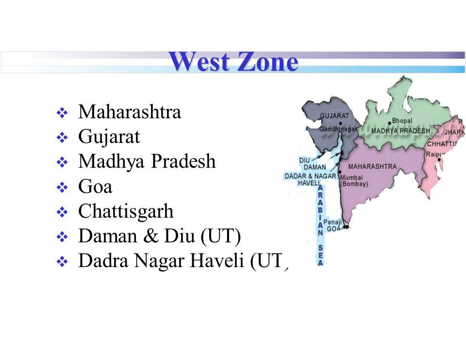 West Zone  Maharashtra  Gujarat  Madhya Pradesh  Goa  Chattisgarh  Daman & Diu (UT)  Dadra Nagar Haveli (UT)