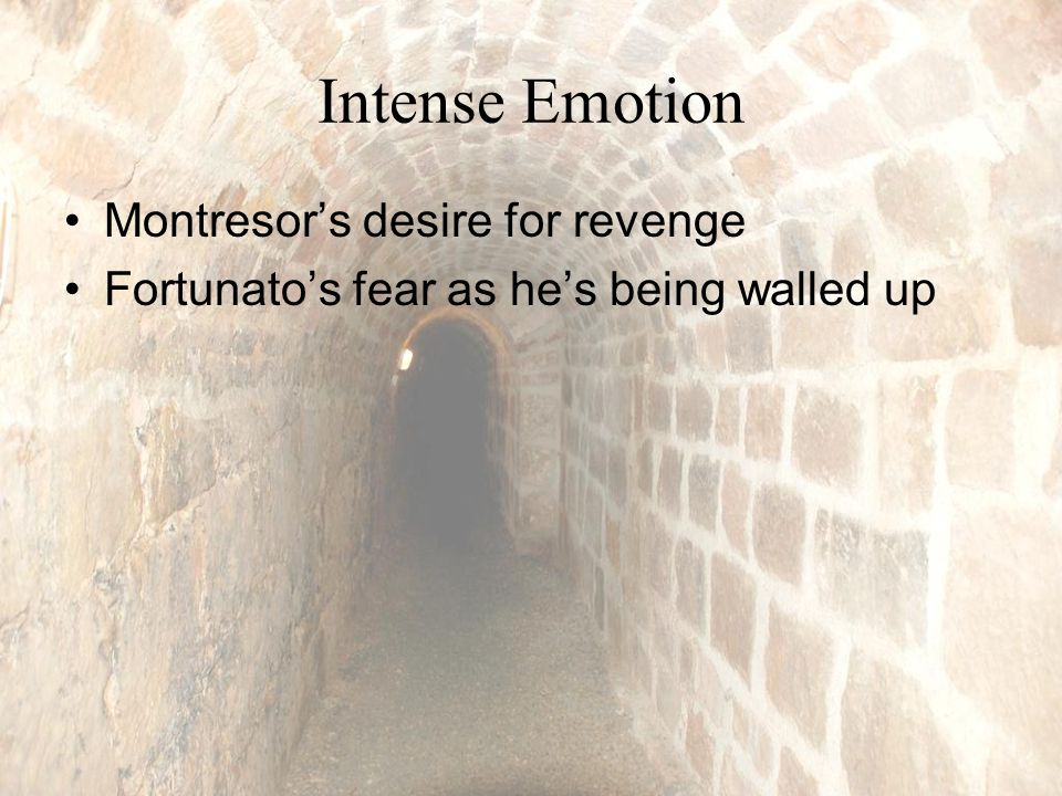 Intense Emotion Montresor's desire for revenge Fortunato's fear as he's being walled up