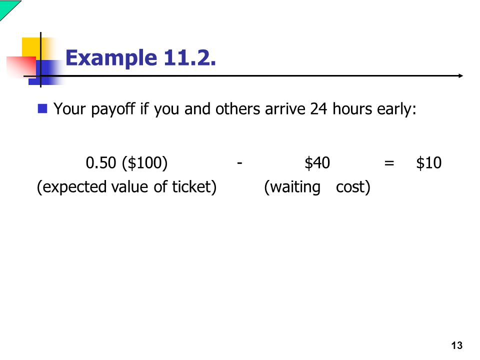 13 Example 11.2. Your payoff if you and others arrive 24 hours early: 0.50 ($100)-$40=$10 (expected value of ticket)(waiting cost)