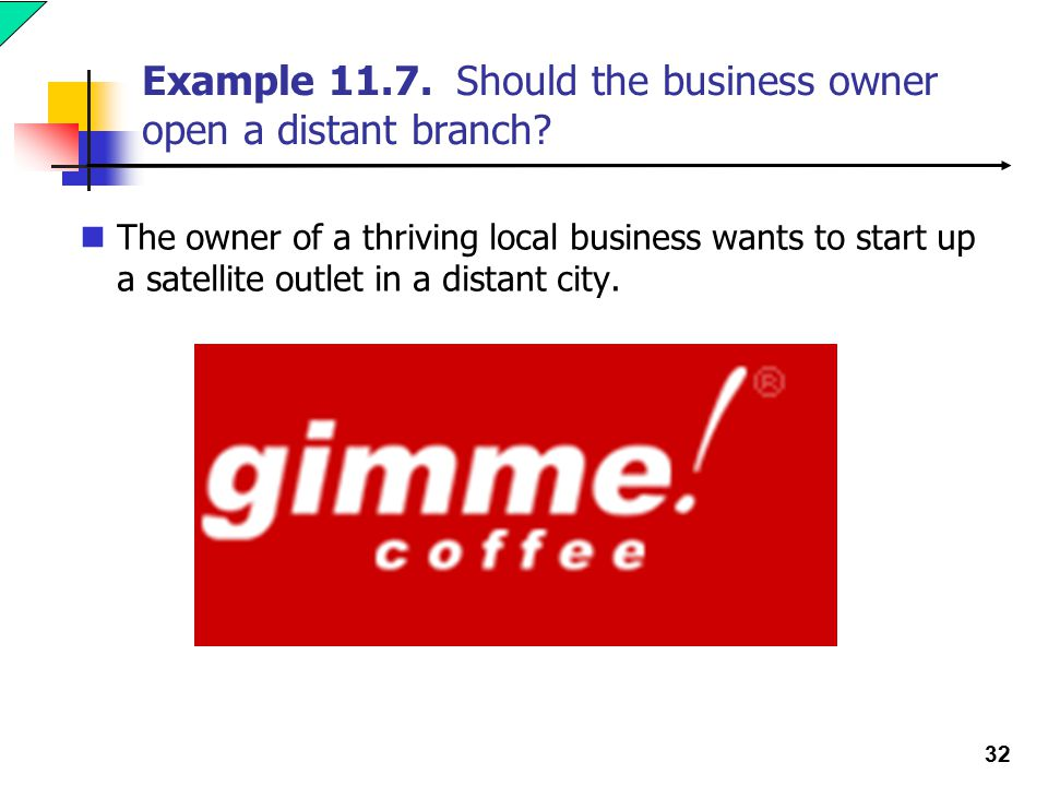 32 Example 11.7. Should the business owner open a distant branch.
