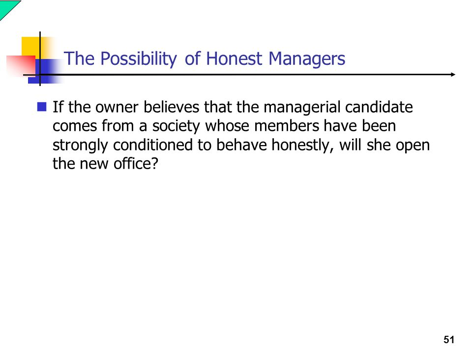 51 The Possibility of Honest Managers If the owner believes that the managerial candidate comes from a society whose members have been strongly conditioned to behave honestly, will she open the new office