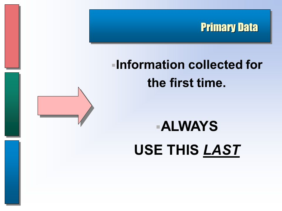 Primary Data  Information collected for the first time.  ALWAYS USE THIS LAST