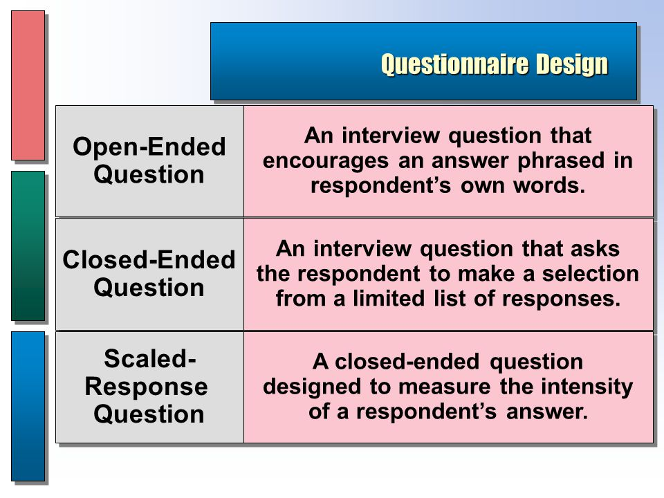 Questionnaire Design Open-Ended Question Open-Ended Question Closed-Ended Question Closed-Ended Question Scaled- Response Question Scaled- Response Question An interview question that encourages an answer phrased in respondent's own words.