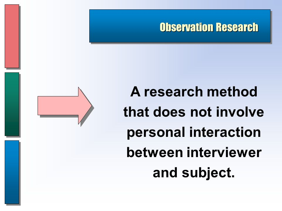 Observation Research A research method that does not involve personal interaction between interviewer and subject.