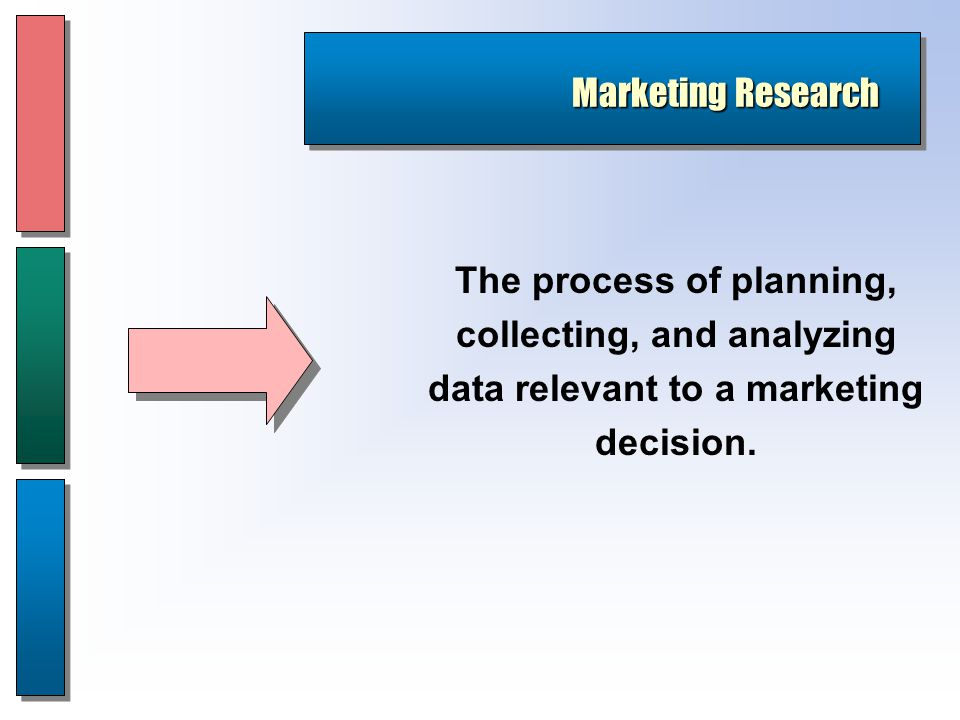 Marketing Research The process of planning, collecting, and analyzing data relevant to a marketing decision.