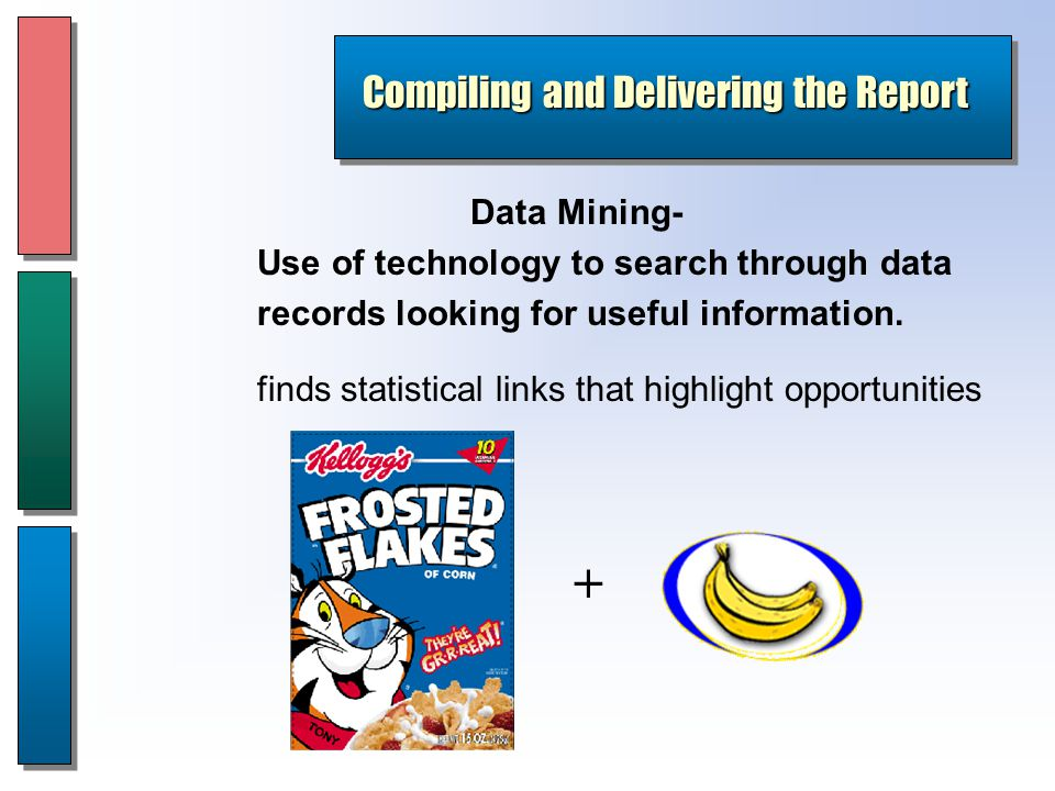 Data Mining- Use of technology to search through data records looking for useful information.