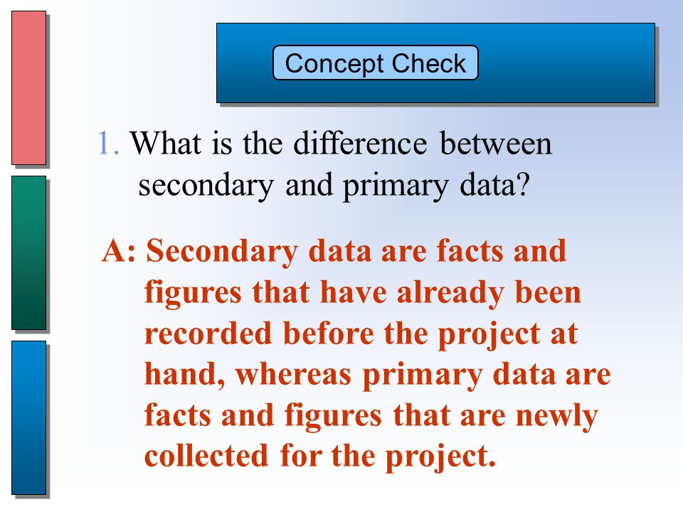 Concept Check A: Secondary data are facts and figures that have already been recorded before the project at hand, whereas primary data are facts and figures that are newly collected for the project.