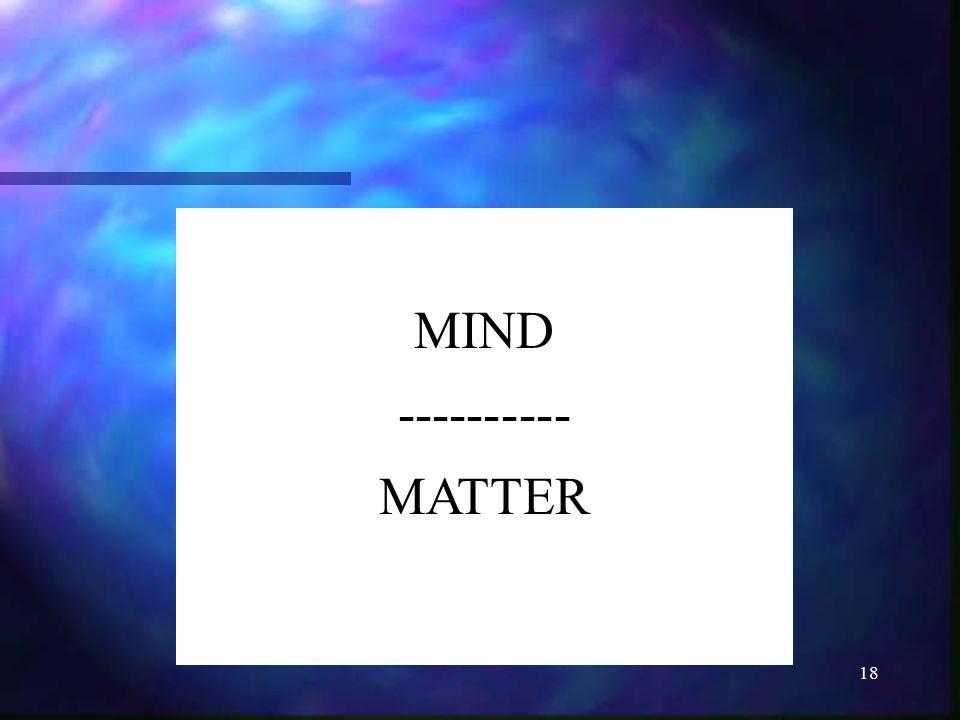 18 MIND ---------- MATTER