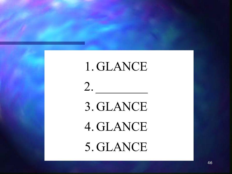 46 1.GLANCE 2.________ 3.GLANCE 4.GLANCE 5.GLANCE