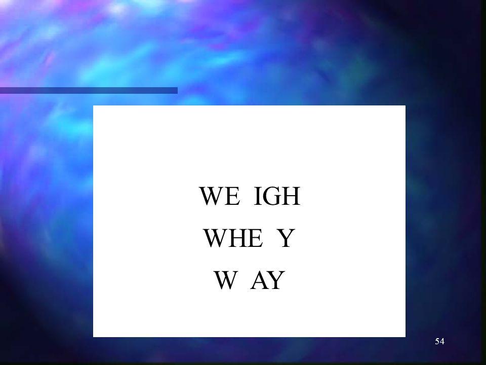 54 WE IGH WHE Y W AY