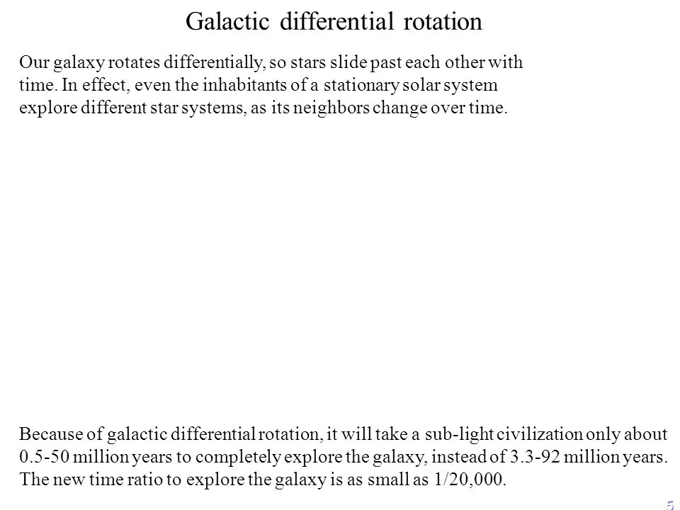 5 Galactic differential rotation Our galaxy rotates differentially, so stars slide past each other with time.