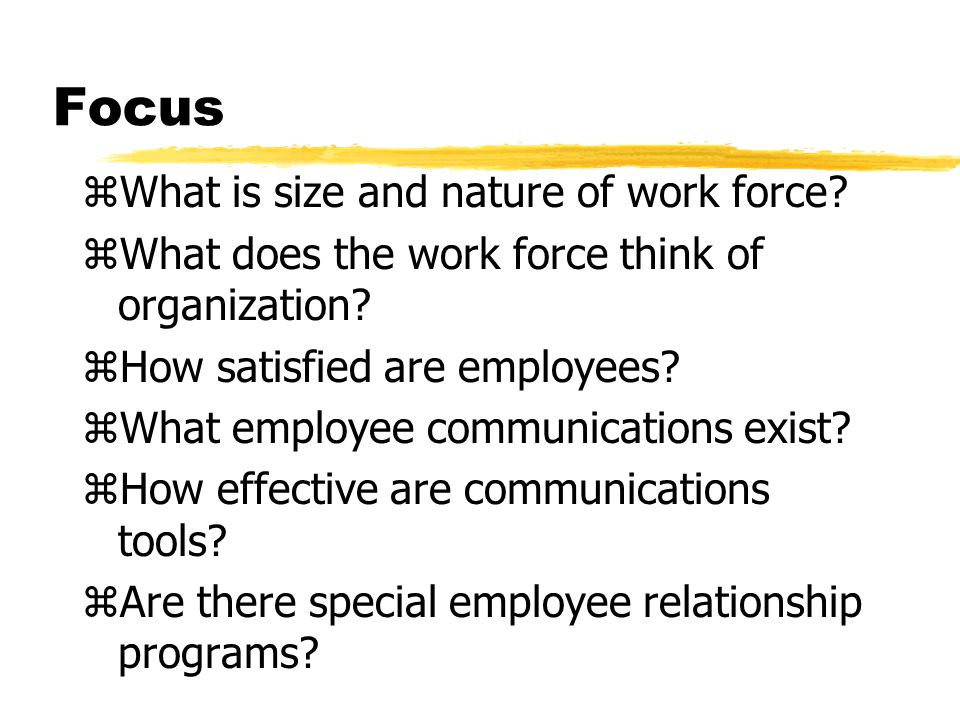 Focus zWhat is size and nature of work force? zWhat does the work force think of organization? zHow satisfied are employees? zWhat employee communicat