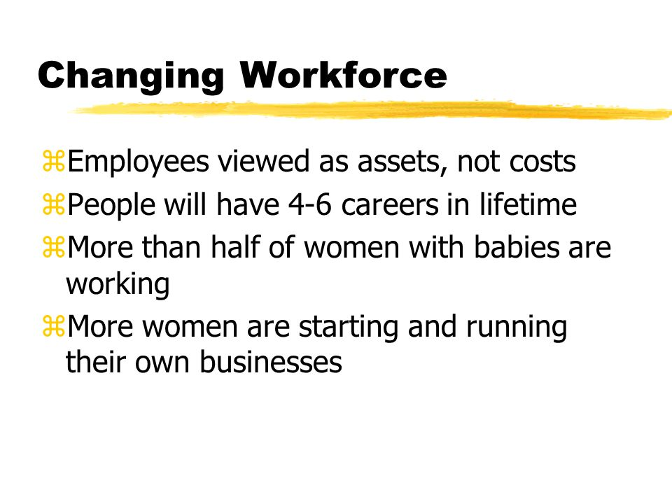 Changing Workforce zEmployees viewed as assets, not costs zPeople will have 4-6 careers in lifetime zMore than half of women with babies are working z