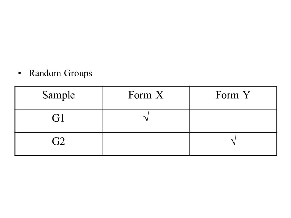 Random Groups SampleForm XForm Y G1√ G2√