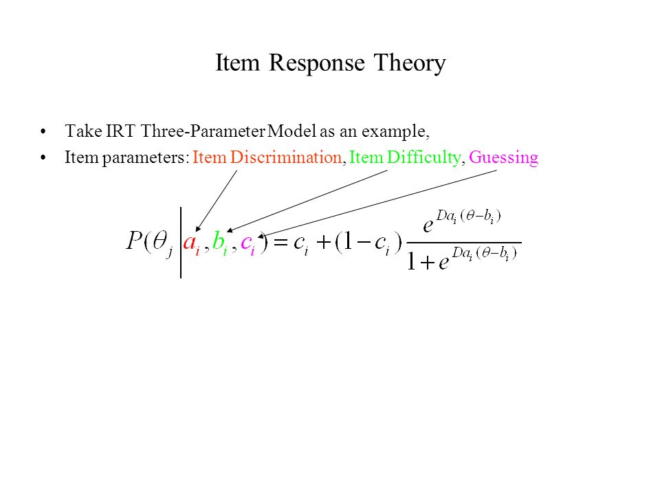 Item Response Theory Take IRT Three-Parameter Model as an example, Item parameters: Item Discrimination, Item Difficulty, Guessing