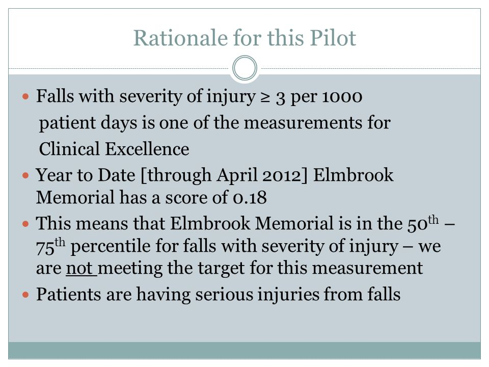 Rationale for this Pilot Falls with severity of injury ≥ 3 per 1000 patient days is one of the measurements for Clinical Excellence Year to Date [through April 2012] Elmbrook Memorial has a score of 0.18 This means that Elmbrook Memorial is in the 50 th – 75 th percentile for falls with severity of injury – we are not meeting the target for this measurement Patients are having serious injuries from falls