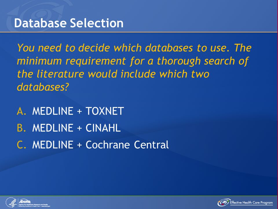 You need to decide which databases to use.