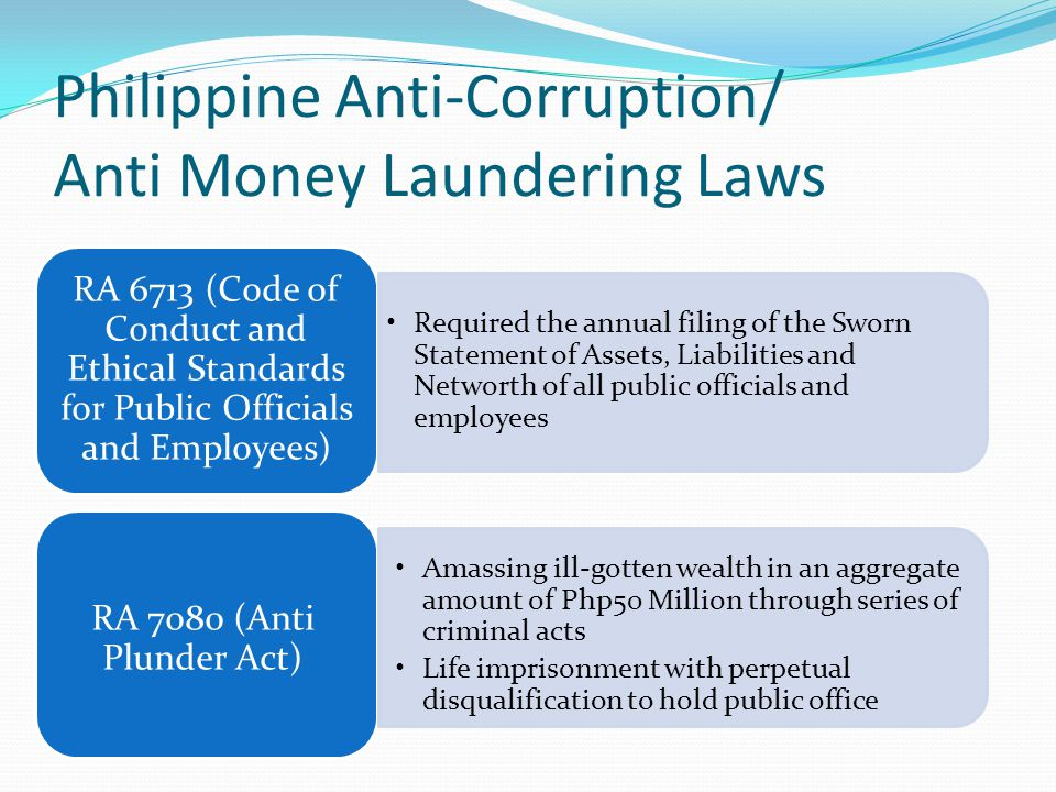 Philippine Anti-Corruption/ Anti Money Laundering Laws RA 6713 (Code of Conduct and Ethical Standards for Public Officials and Employees) Required the