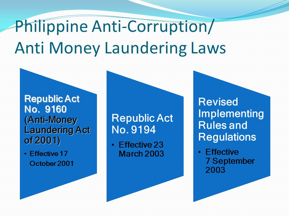 Philippine Anti-Corruption/ Anti Money Laundering Laws Republic Act No.