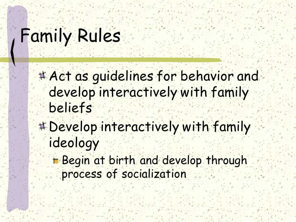 Family Rules Act as guidelines for behavior and develop interactively with family beliefs Develop interactively with family ideology Begin at birth and develop through process of socialization