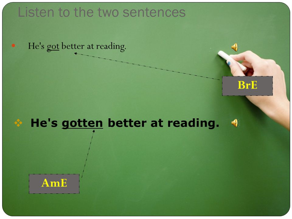 Listen to the two sentences He s got better at reading.  He s gotten better at reading. BrE AmE