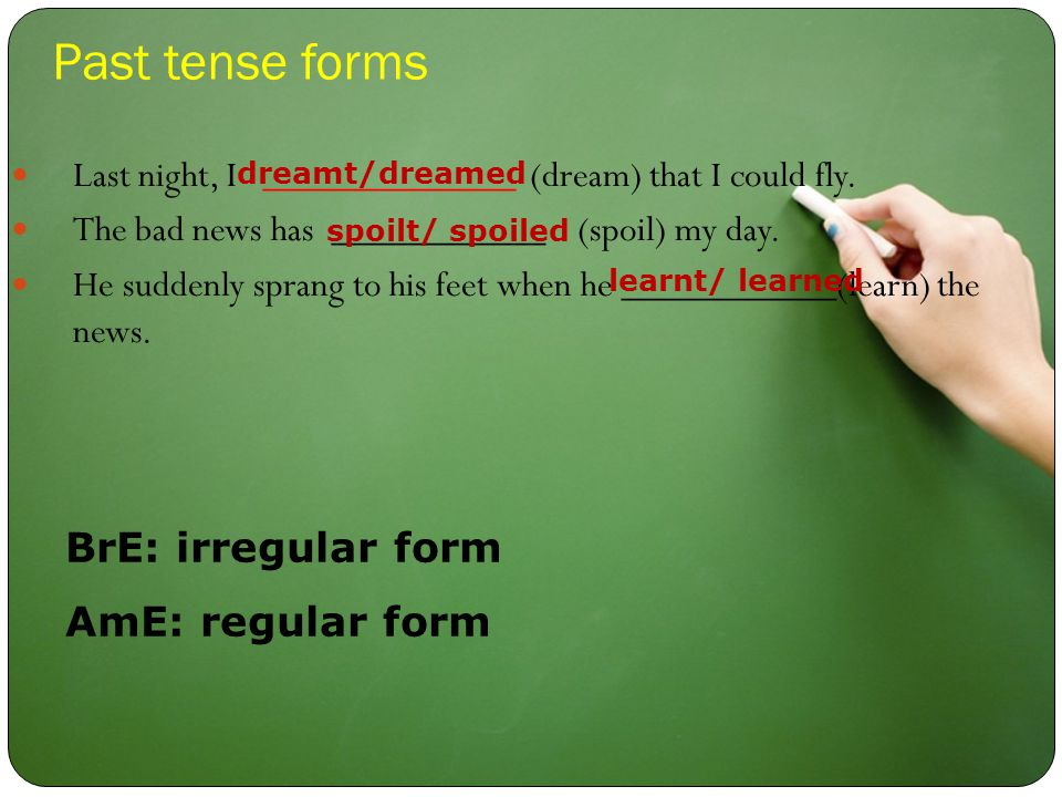 Past tense forms Last night, I _____________ (dream) that I could fly.